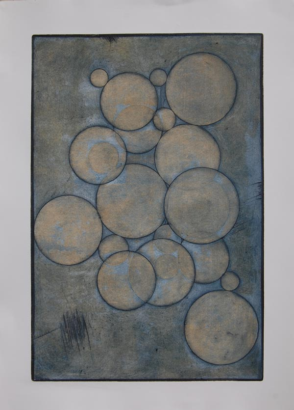 """After Archimedes' Atikythera Mechanism, collagraph with viscosity roll, 30"""" x 22"""""""