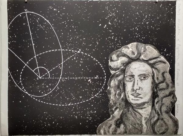 """Newton's derivation of Proposition 43, Problem 30, monoprint, gouache, collage, 22 x 30"""""""