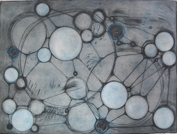 """Spacetime II, monoprint (intaglio, monotype, thread), 22"""" x 30"""""""