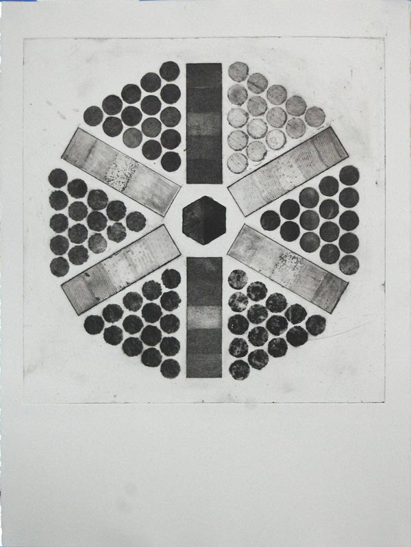 """Study in Mars Black, collagraph, plate 19.5"""" x 19.5"""", paper 30"""" x 22"""""""