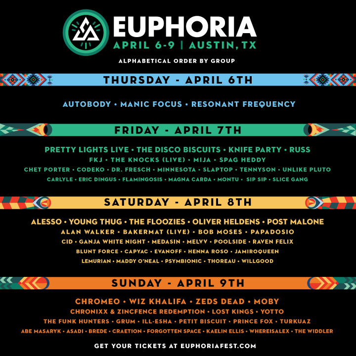 Euphoria 2017 Lineup-By-Day