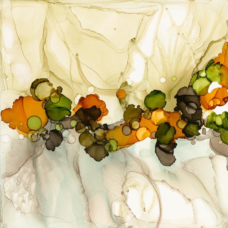 Dotscape Tan by Julie Peleaz, Fine Artist