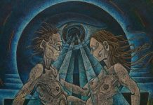 "In the Eye of the Beholder by Tom Besson, Fine Artist - Oil pastel on black enamel, 40"" x 48"", 2013"