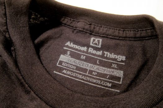 Almost Real Things ART Club Pocket Tee Shirt in Black, Tag Detail
