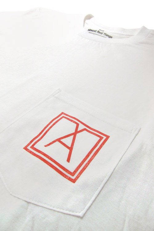 Almost Real Things ART Club Pocket Tee Shirt in White, Pocket Symbol Detail