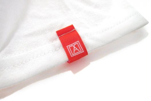 Almost Real Things ART Club Pocket Tee Shirt in White, Sleeve Tag Detail