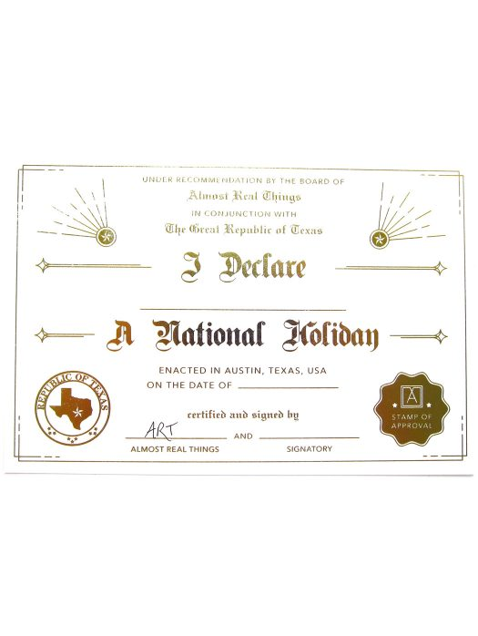 Almost Real Things I Declare A National Holiday Postcard Certificate