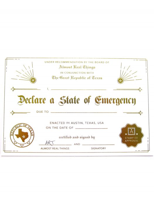 Almost Real Things I Declare A State Of Emergency Postcard Certificate