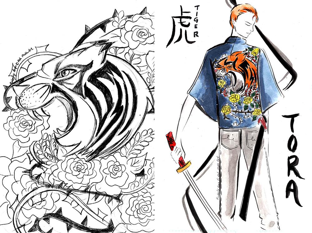 Red Moth - Tora Kimono Process